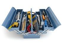 Caja de herramientas con las herramientas en el fondo blanco Fotos de archivo