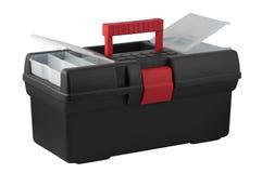 Caja de herramientas con los compartimientos para los artículos pequeños en una cubierta. Imagenes de archivo