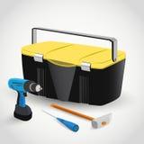 Caja de herramientas con los instrumentos Imágenes de archivo libres de regalías