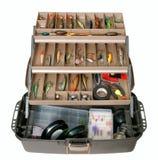 Caja de herramientas de la pesca Fotos de archivo libres de regalías