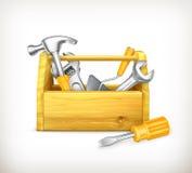 Caja de herramientas de madera ilustración del vector