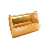Caja de herramientas de madera aislada en blanco Imagenes de archivo
