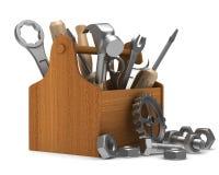 Caja de herramientas de madera con las herramientas Fotografía de archivo