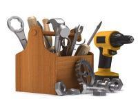 Caja de herramientas de madera con las herramientas Imagen de archivo libre de regalías