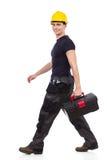 Caja de herramientas que lleva del reparador que camina Fotografía de archivo libre de regalías