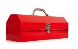 Caja de herramientas roja del metal en blanco fotografía de archivo
