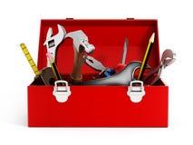 Caja de herramientas roja por completo de herramientas de la mano Imagen de archivo libre de regalías