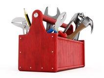 Caja de herramientas roja por completo de herramientas de la mano Imágenes de archivo libres de regalías