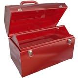 Caja de herramientas roja vacía para su copia o mensaje Copyspace en blanco ilustración del vector