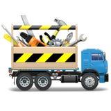Caja de herramientas y camión del vector libre illustration