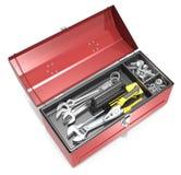 Caja de herramientas y herramientas Fotografía de archivo