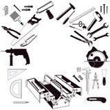 Caja de herramientas y juego de herramientas Foto de archivo libre de regalías