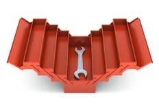 Caja de herramientas y llave inglesa rojas Fotografía de archivo
