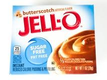 Caja de Jello Sugar Free Butterscotch Pudding Mix Foto de archivo