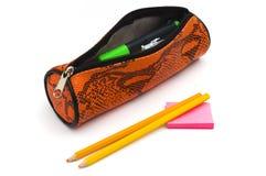 Caja de lápiz con los lápices y las notas de post-it Imagen de archivo libre de regalías