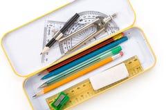Caja de lápiz del metal imagen de archivo