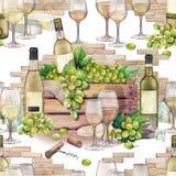 Caja de la acuarela con la botella y las uvas con las copas de vino en frente Stock de ilustración