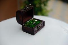 Caja de la boda con dos anillos con el musgo fotografía de archivo libre de regalías