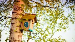 Caja de la casa del pájaro de la ejecución Imagen de archivo libre de regalías
