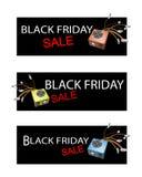 Caja de la fuente de alimentación en tres banderas de la venta de Black Friday Imagen de archivo