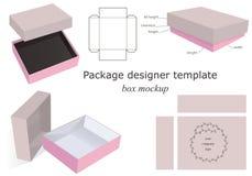 Caja de la maqueta del paquete Fotos de archivo