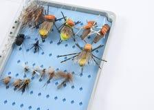 Caja de la mosca del ` s del pescador de la mosca Foto de archivo