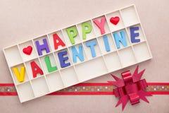 Caja de los alfabetos de la tarjeta del día de San Valentín feliz Imagen de archivo