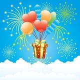 Caja de los globos, del fuego artificial y de regalo Imagenes de archivo