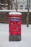 Caja de los posts de Canadá en la nieve Fotos de archivo