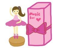 Caja de música con la bailarina del baile ilustración del vector
