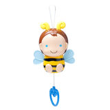 Caja de música del juguete de la abeja para el niño aislado en el fondo blanco Imagenes de archivo