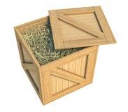 Caja de madera aislada con el heno en el fondo blanco ilustración del vector