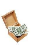Caja de madera con el dinero Imagen de archivo