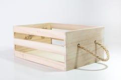 Caja de madera con la manija de la cuerda Imagenes de archivo