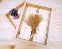 Caja de madera con la pequeña flor púrpura en pote Foto de archivo
