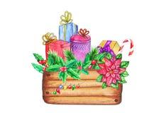 Caja de madera con las decoraciones y los presentes de la Navidad libre illustration