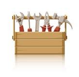 Caja de madera con las herramientas de la construcción Fotos de archivo libres de regalías