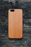 Caja de madera de la cereza de IPhone 6 Imágenes de archivo libres de regalías