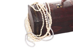 Caja de madera de la joyería Foto de archivo libre de regalías