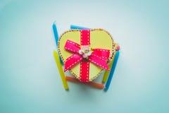 Caja de madera del corazón Foto de archivo