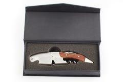 Caja de madera del lujo del sacacorchos Fotografía de archivo libre de regalías