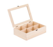 Caja de madera para las bolas Imagen de archivo libre de regalías