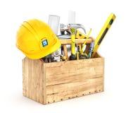 Caja de madera por completo de herramientas Foto de archivo libre de regalías