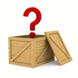 Caja de madera vacía y pregunta Fotografía de archivo libre de regalías