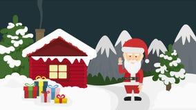 Caja de Papá Noel y de regalo en noche de la Navidad stock de ilustración