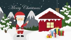 Caja de Papá Noel y de regalo en noche de la Navidad ilustración del vector