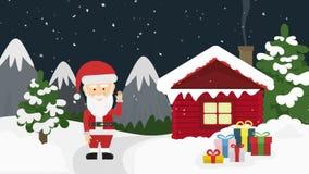 Caja de Papá Noel y de regalo en noche de la Navidad libre illustration