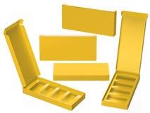 Caja de papel amarilla con el divisor, trayectoria de recortes incluida Imagen de archivo libre de regalías