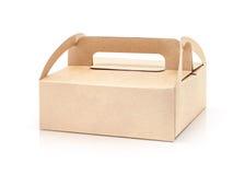 Caja de papel de empaquetado de Kraft aislada en el fondo blanco Fotografía de archivo
