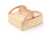 Caja de papel de empaquetado de Kraft aislada en el fondo blanco Foto de archivo